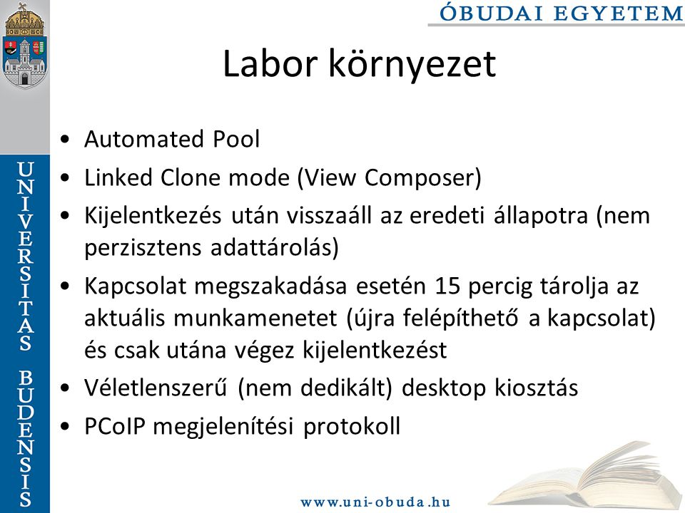 Labor környezet Automated Pool Linked Clone mode (View Composer)