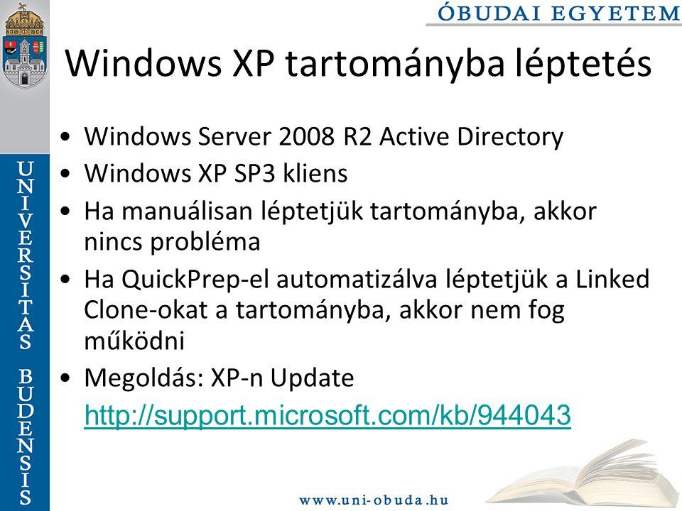 Windows XP tartományba léptetés