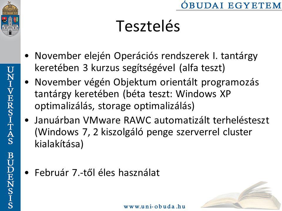 Tesztelés November elején Operációs rendszerek I. tantárgy keretében 3 kurzus segítségével (alfa teszt)