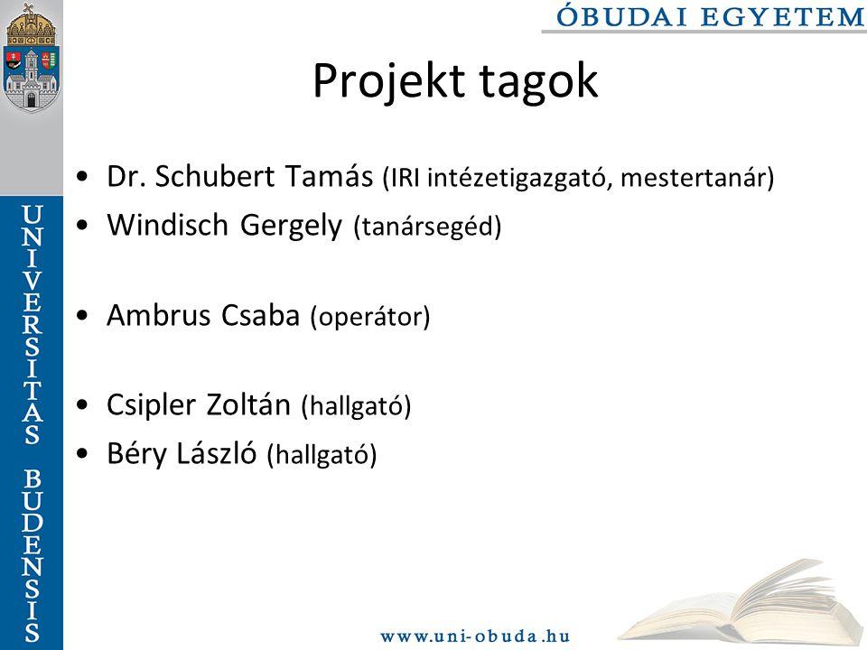Projekt tagok Dr. Schubert Tamás (IRI intézetigazgató, mestertanár)