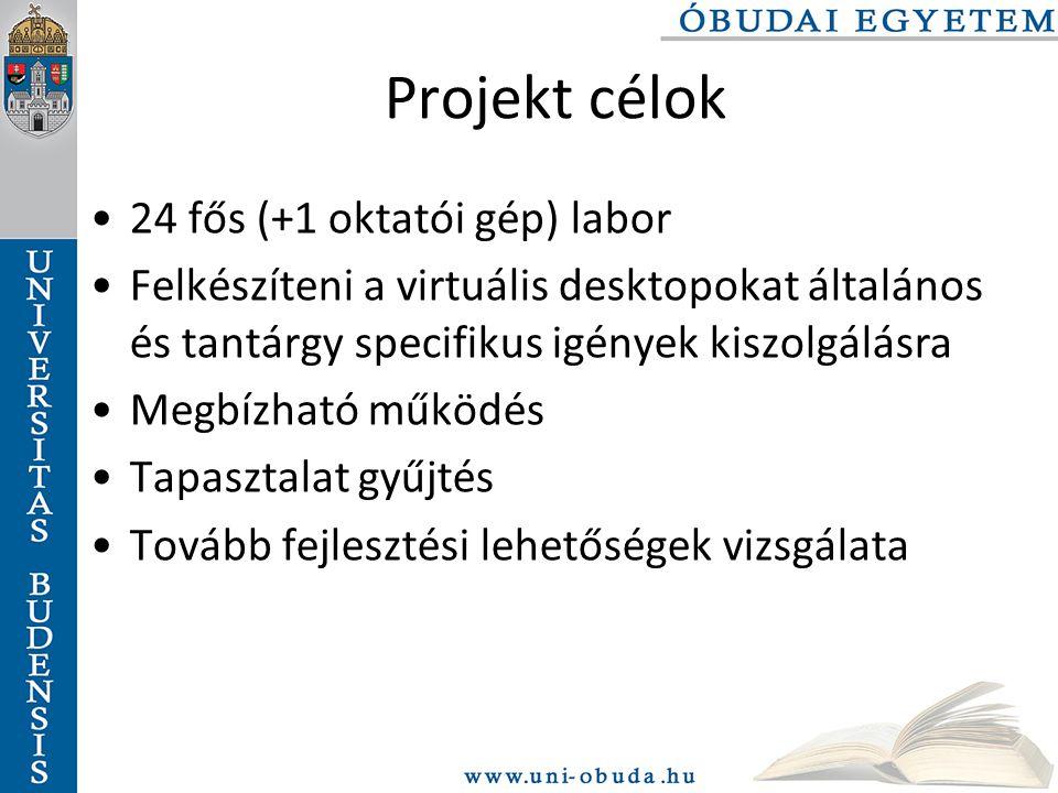 Projekt célok 24 fős (+1 oktatói gép) labor