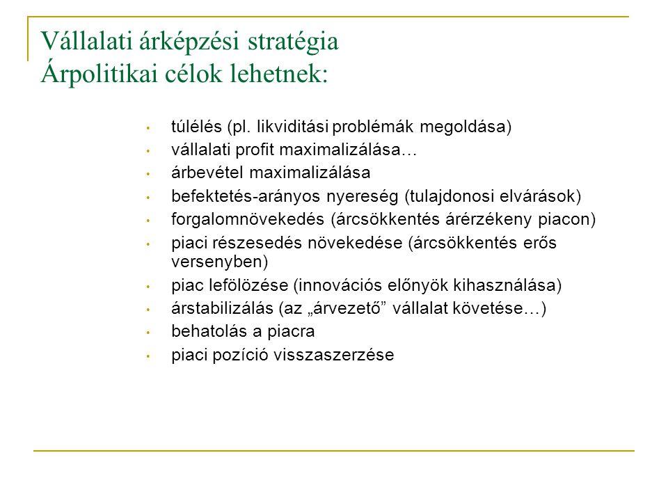 Vállalati árképzési stratégia Árpolitikai célok lehetnek: