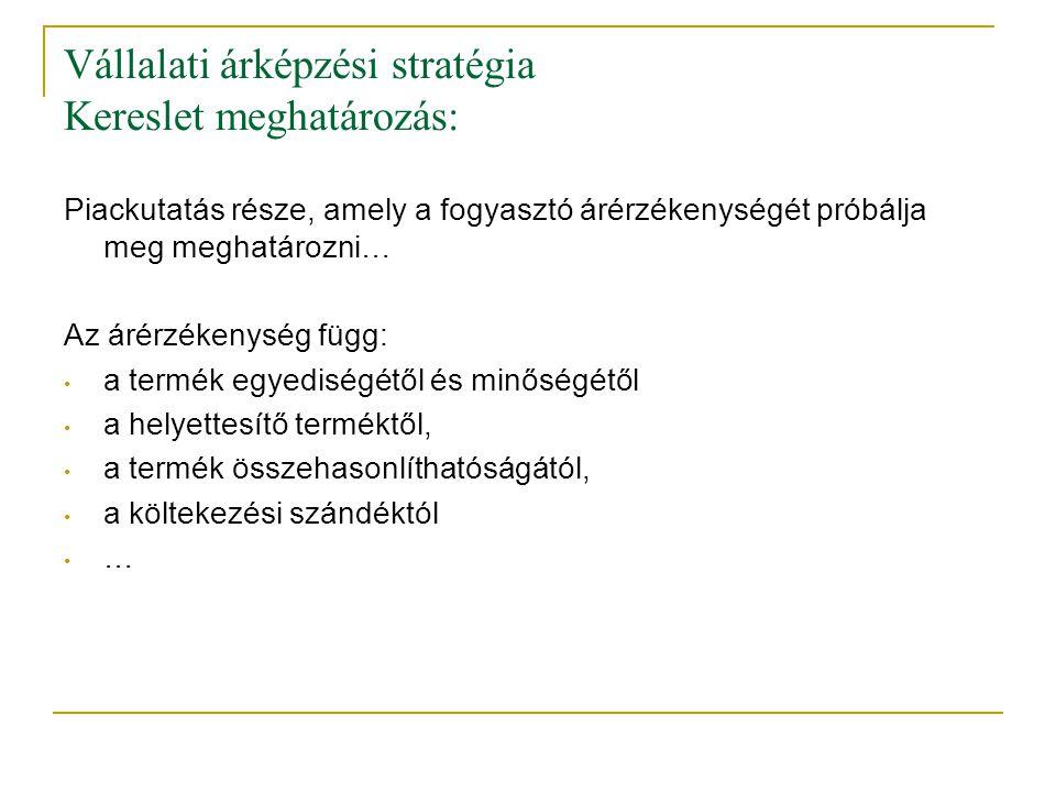 Vállalati árképzési stratégia Kereslet meghatározás: