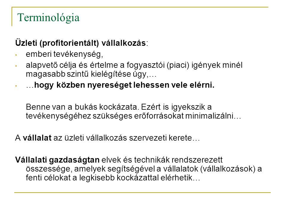 Terminológia Üzleti (profitorientált) vállalkozás: emberi tevékenység,