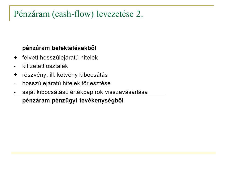 Pénzáram (cash-flow) levezetése 2.
