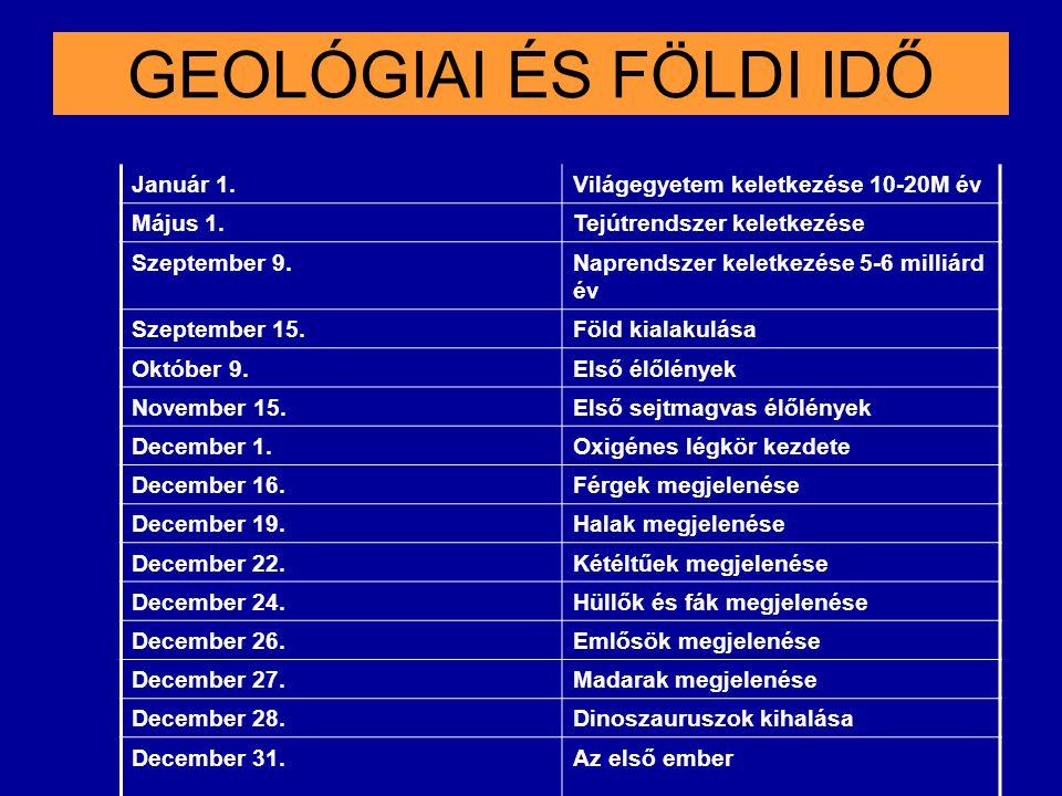 GEOLÓGIAI ÉS FÖLDI IDŐ Január 1. Világegyetem keletkezése 10-20M év