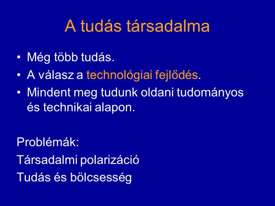 A tudás társadalma Még több tudás. A válasz a technológiai fejlődés.