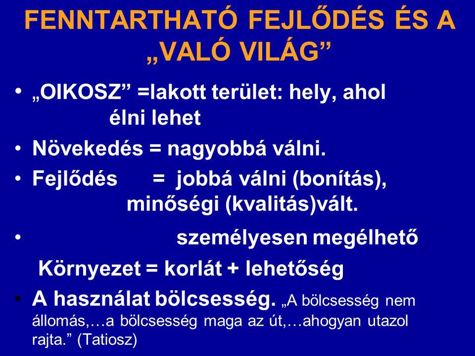 """FENNTARTHATÓ FEJLŐDÉS ÉS A """"VALÓ VILÁG"""