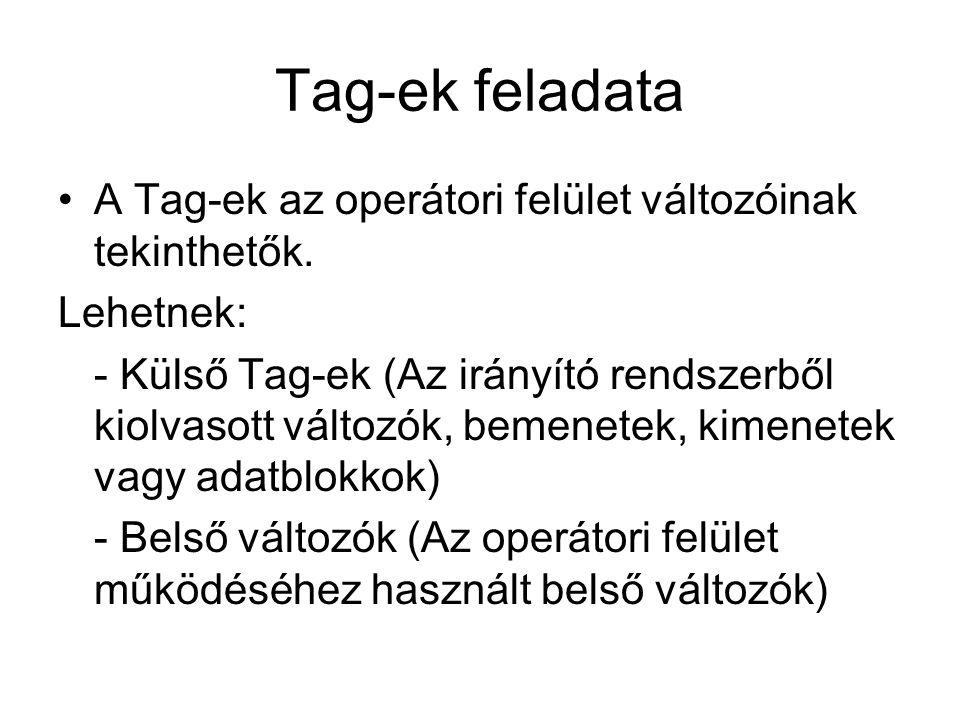 Tag-ek feladata A Tag-ek az operátori felület változóinak tekinthetők.