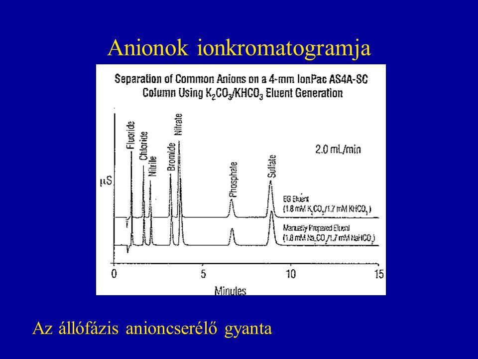 Anionok ionkromatogramja
