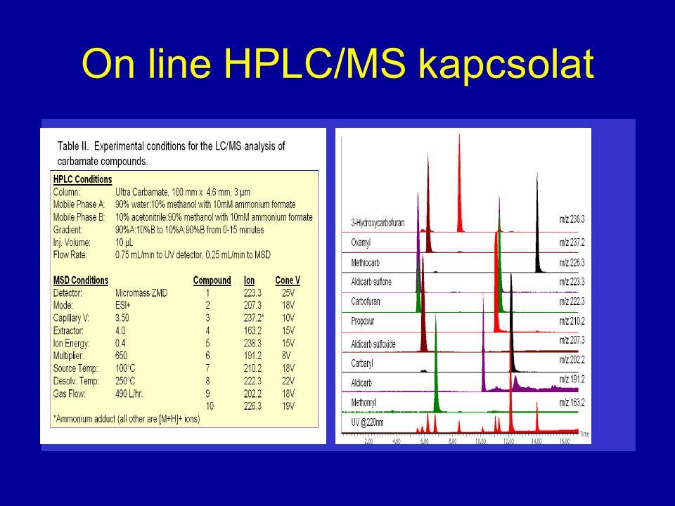 On line HPLC/MS kapcsolat