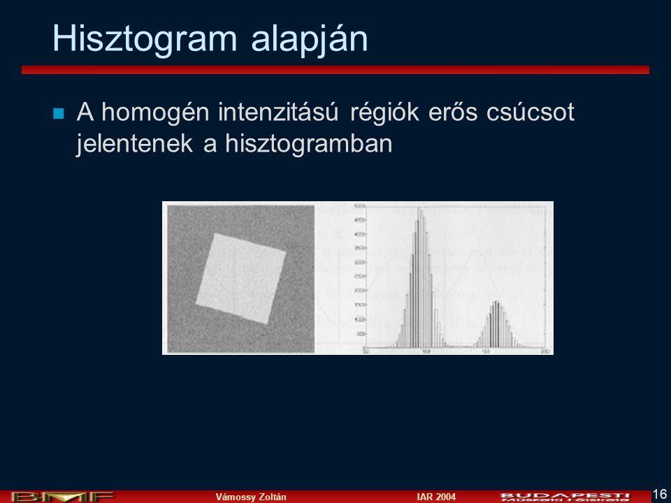 Hisztogram alapján A homogén intenzitású régiók erős csúcsot jelentenek a hisztogramban