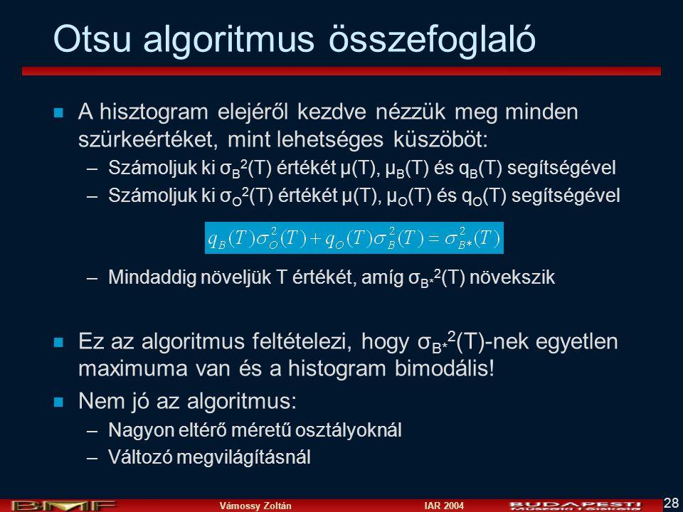 Otsu algoritmus összefoglaló