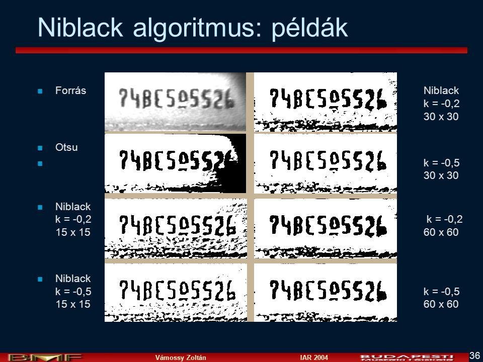 Niblack algoritmus: példák