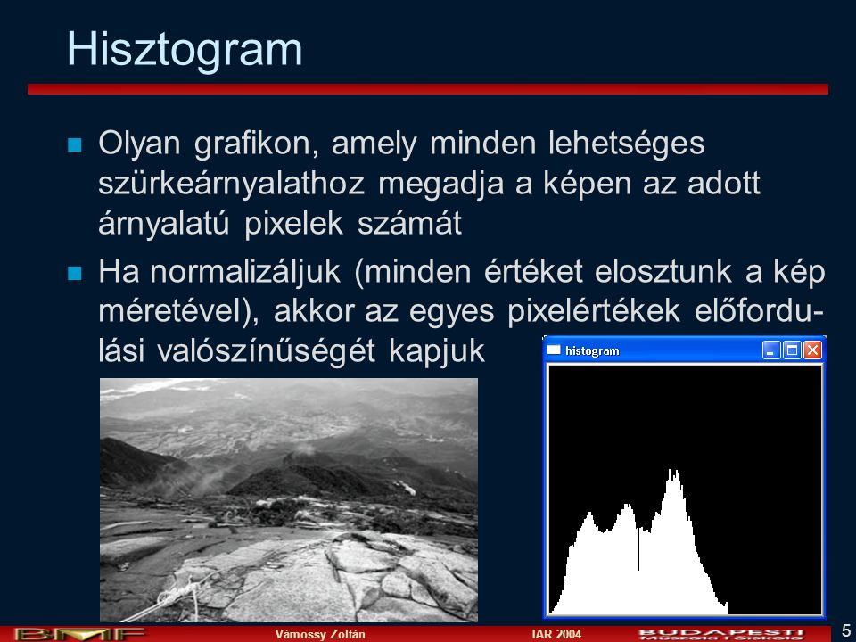Hisztogram Olyan grafikon, amely minden lehetséges szürkeárnyalathoz megadja a képen az adott árnyalatú pixelek számát.