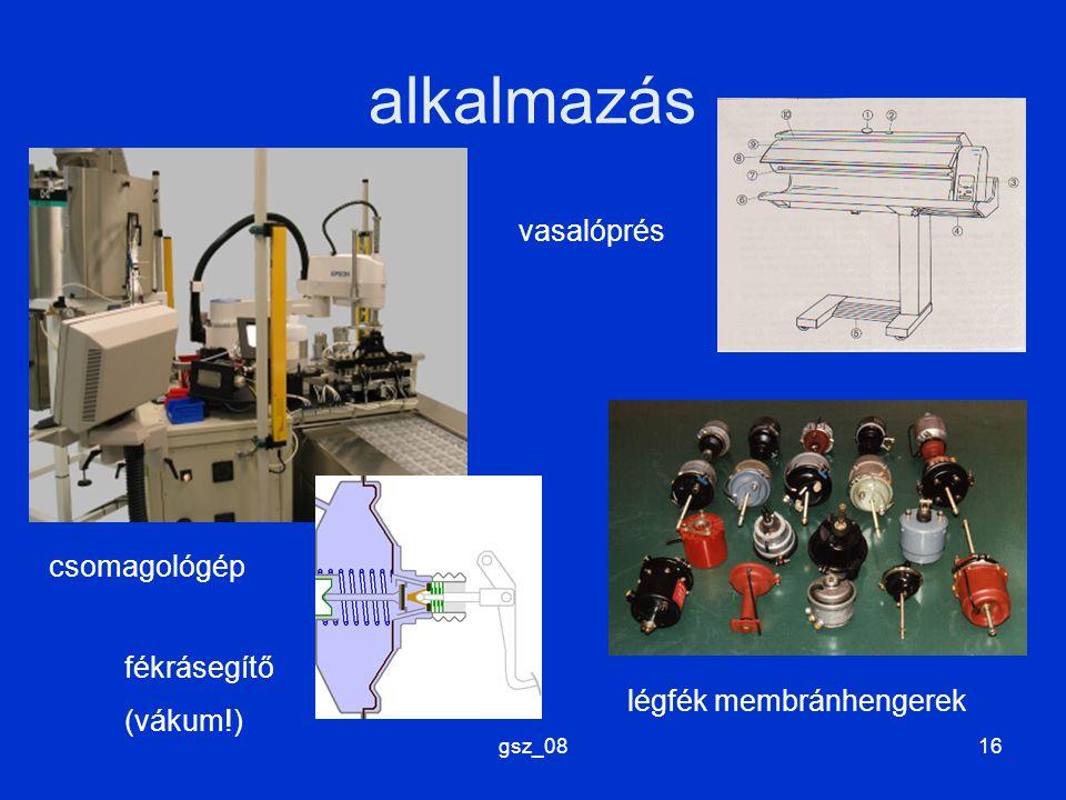 alkalmazás vasalóprés csomagológép fékrásegítő (vákum!)