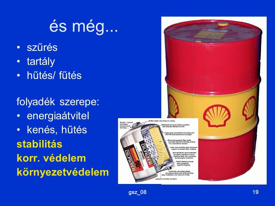 és még... szűrés tartály hűtés/ fűtés folyadék szerepe: energiaátvitel