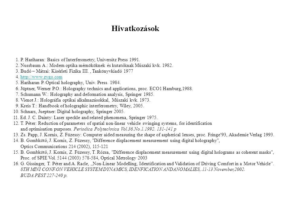 Hivatkozások 1. P. Hariharan: Basics of Interferometry, Universitz Press 1991.