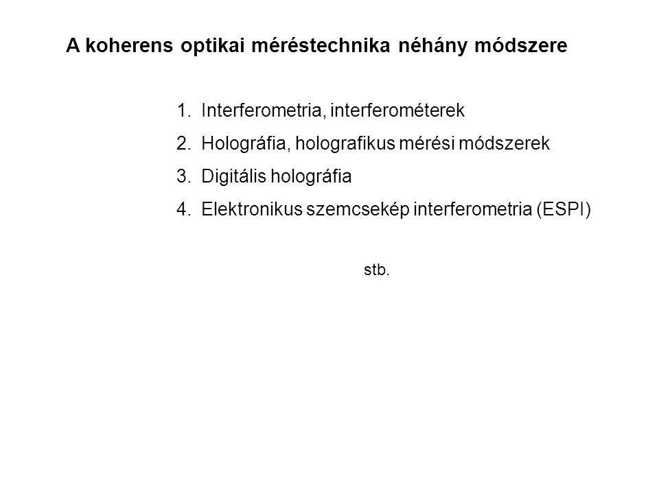 A koherens optikai méréstechnika néhány módszere