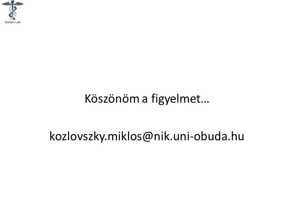 Köszönöm a figyelmet… kozlovszky.miklos@nik.uni-obuda.hu