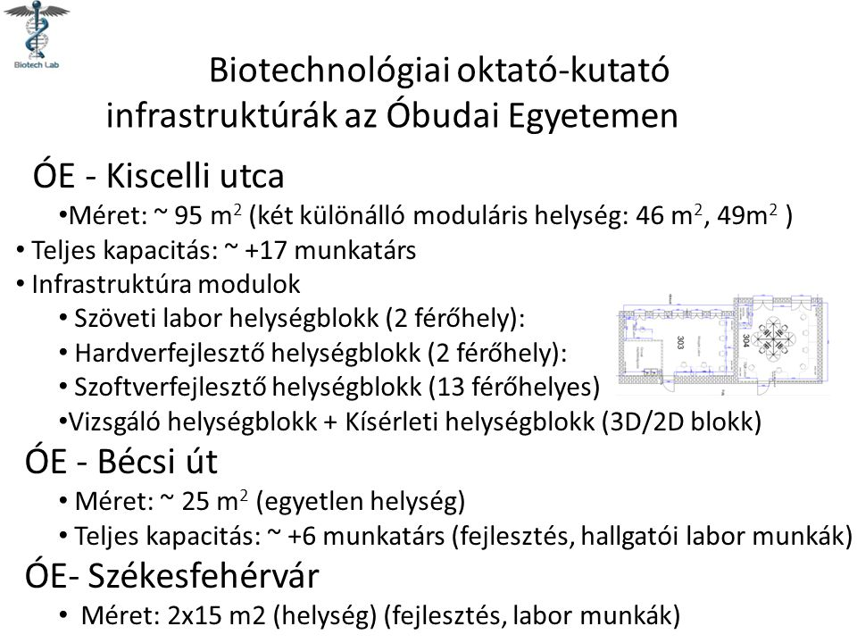 Biotechnológiai oktató-kutató infrastruktúrák az Óbudai Egyetemen