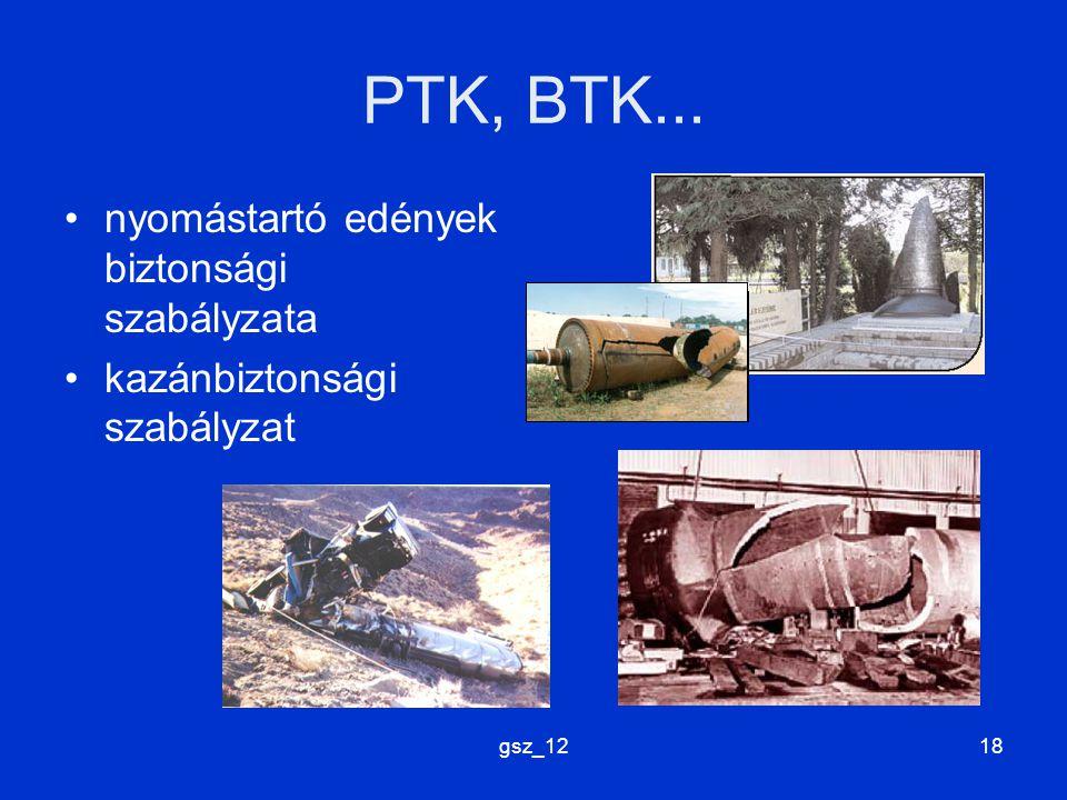 PTK, BTK... nyomástartó edények biztonsági szabályzata