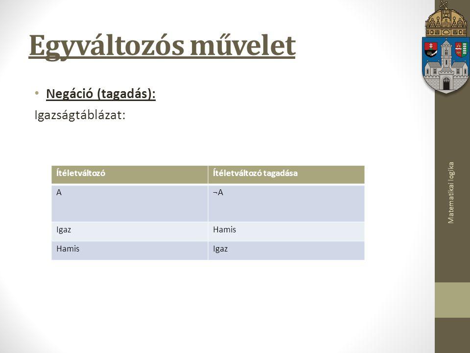 Egyváltozós művelet Negáció (tagadás): Igazságtáblázat: Ítéletváltozó