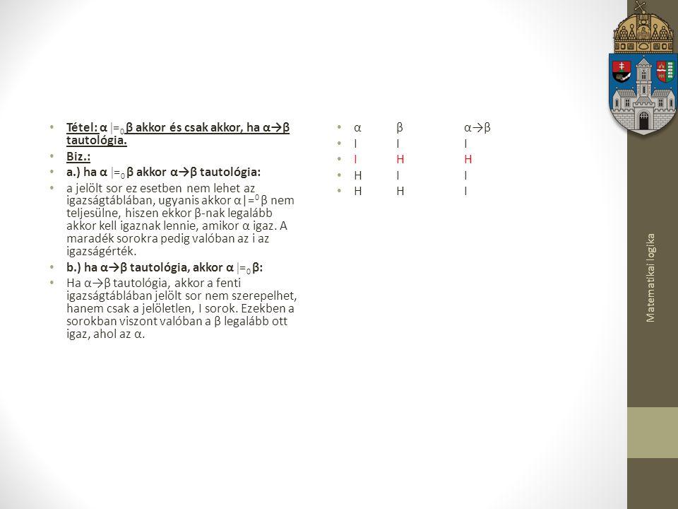 Tétel: α =0 β akkor és csak akkor, ha α→β tautológia. Biz.: