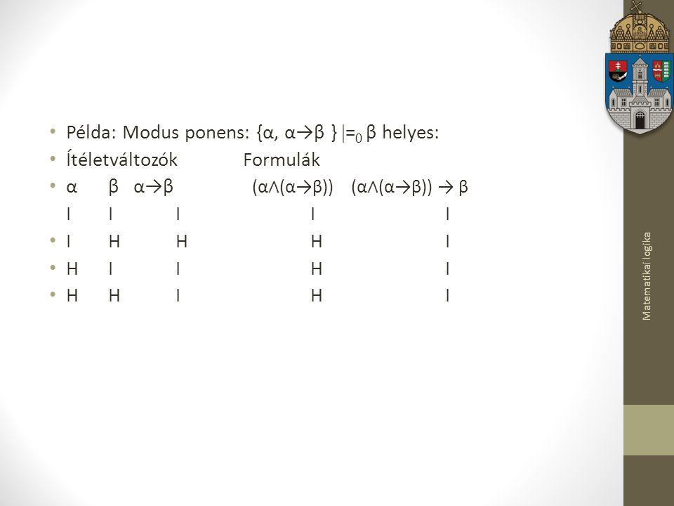 Példa: Modus ponens: {α, α→β } =0 β helyes: Ítéletváltozók Formulák