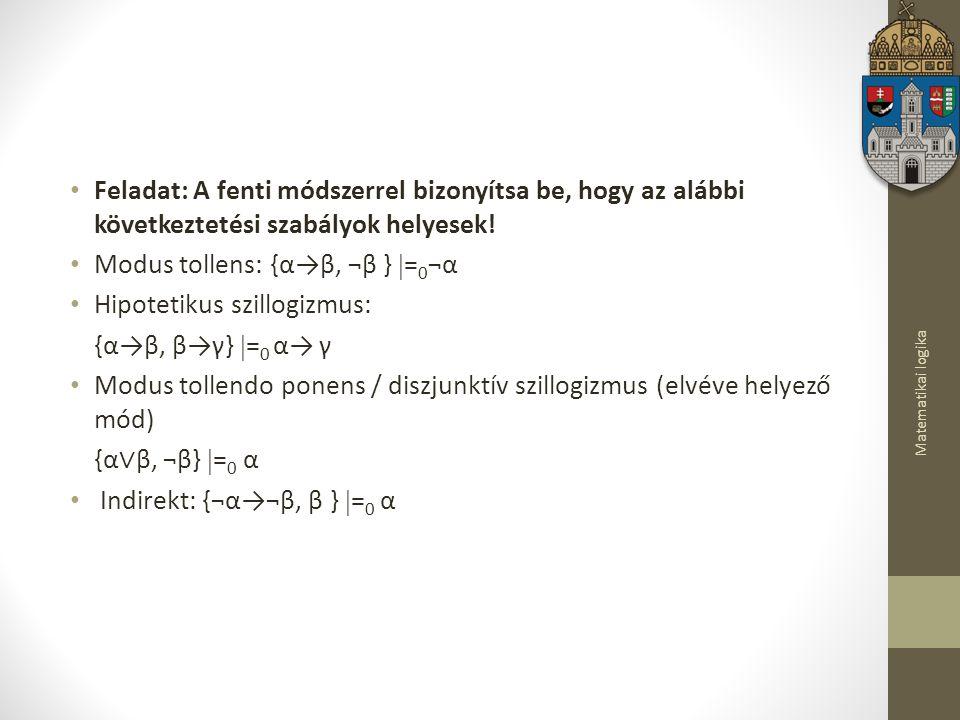 Modus tollens: {α→β, ¬β } =0¬α Hipotetikus szillogizmus: