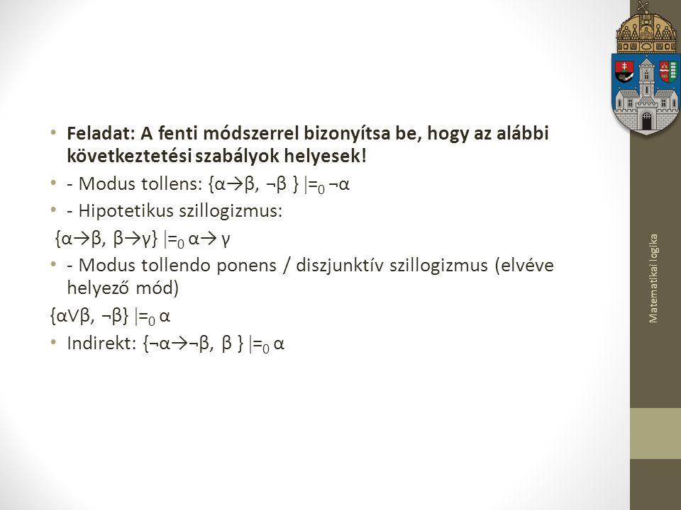 - Modus tollens: {α→β, ¬β } =0 ¬α - Hipotetikus szillogizmus:
