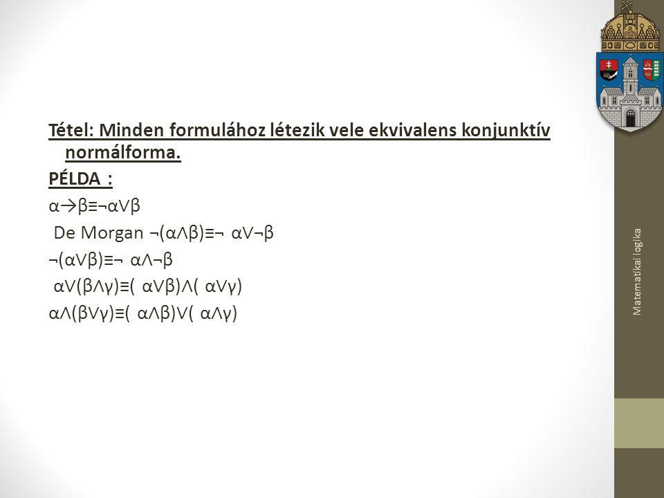 Tétel: Minden formulához létezik vele ekvivalens konjunktív normálforma. PÉLDA : α→β≡¬α∨β De Morgan ¬(α∧β)≡¬ α∨¬β ¬(α∨β)≡¬ α∧¬β α∨(β∧γ)≡( α∨β)∧( α∨γ) α∧(β∨γ)≡( α∧β)∨( α∧γ)