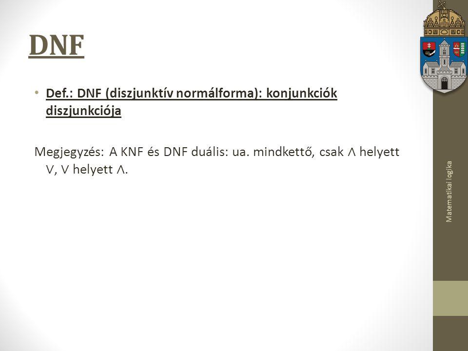 DNF Def.: DNF (diszjunktív normálforma): konjunkciók diszjunkciója