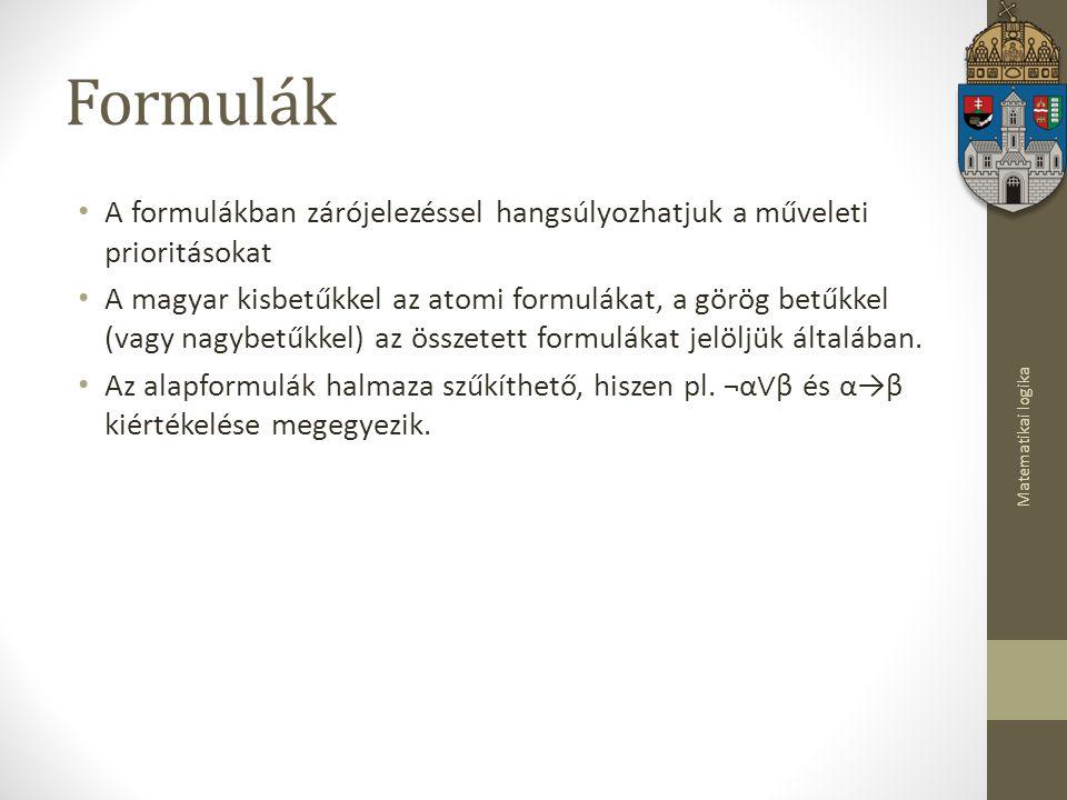 Formulák A formulákban zárójelezéssel hangsúlyozhatjuk a műveleti prioritásokat.