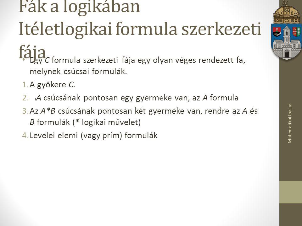 Fák a logikában Itéletlogikai formula szerkezeti fája