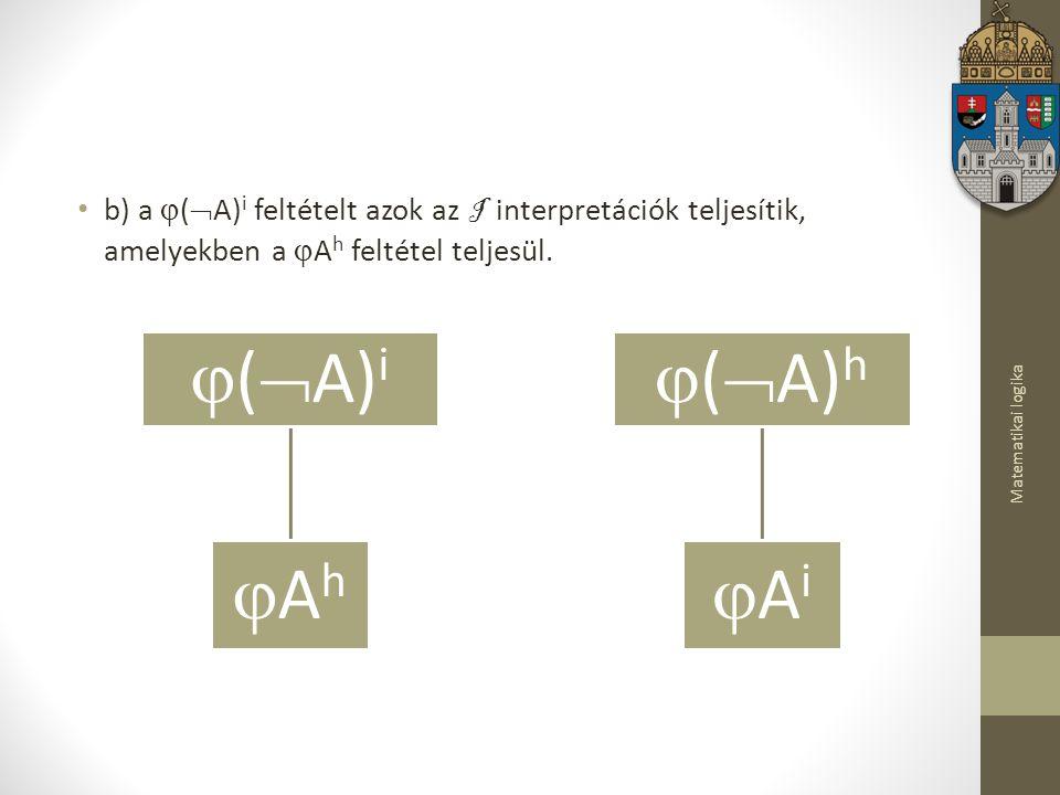 b) a (A)i feltételt azok az I interpretációk teljesítik, amelyekben a Ah feltétel teljesül.