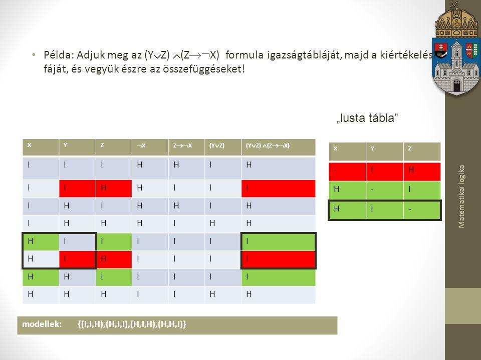 Példa: Adjuk meg az (YZ) (ZX) formula igazságtábláját, majd a kiértékelési fáját, és vegyük észre az összefüggéseket!