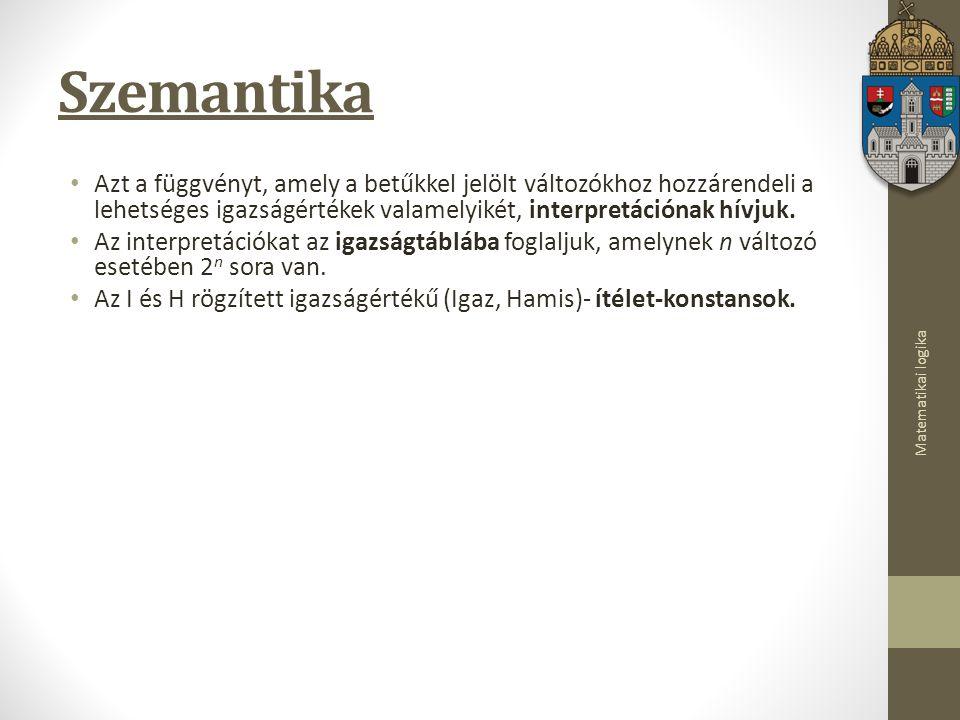 Szemantika Azt a függvényt, amely a betűkkel jelölt változókhoz hozzárendeli a lehetséges igazságértékek valamelyikét, interpretációnak hívjuk.