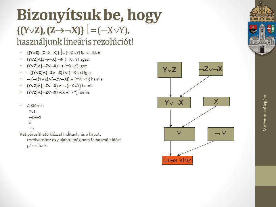 Bizonyítsuk be, hogy {(YZ), (ZX)} = (X Y), használjunk lineáris rezolúciót!