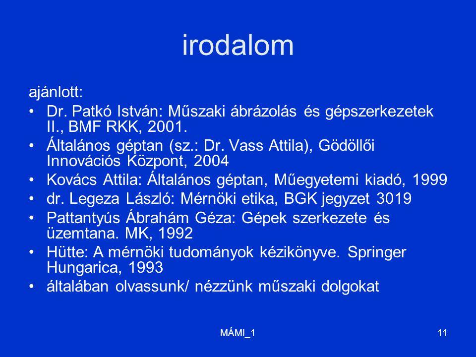 irodalom ajánlott: Dr. Patkó István: Műszaki ábrázolás és gépszerkezetek II., BMF RKK, 2001.