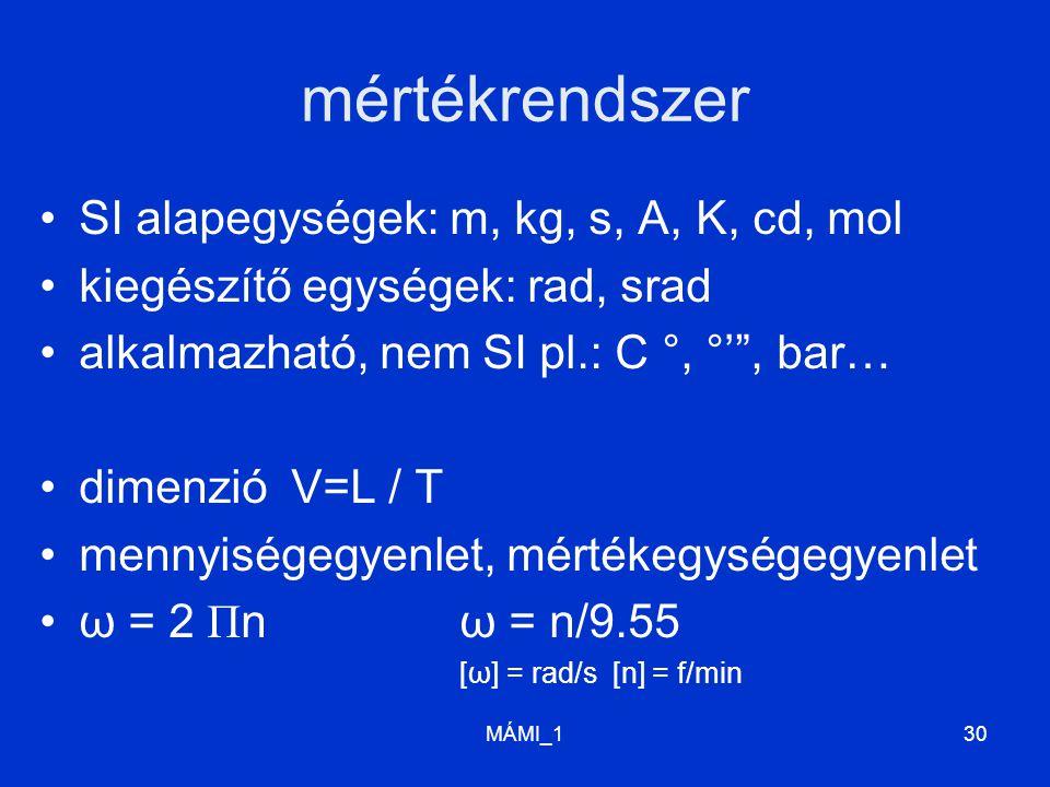 mértékrendszer SI alapegységek: m, kg, s, A, K, cd, mol