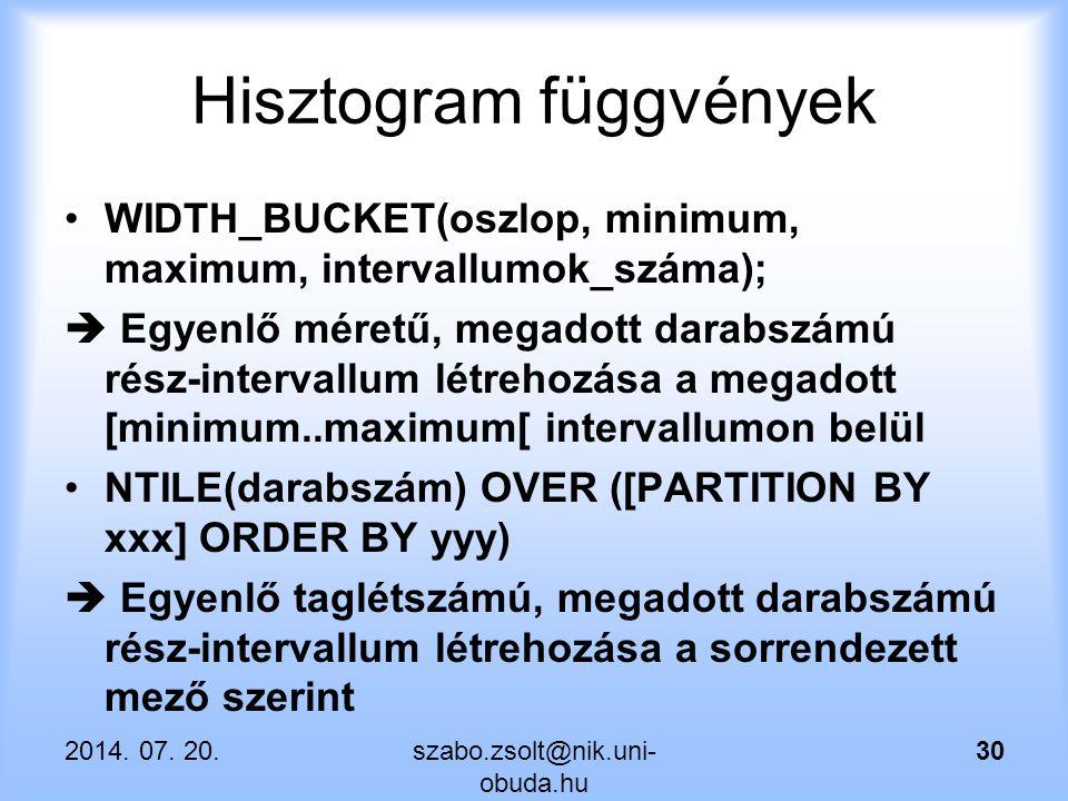 Hisztogram függvények