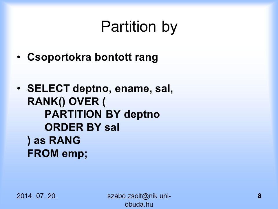 Partition by Csoportokra bontott rang
