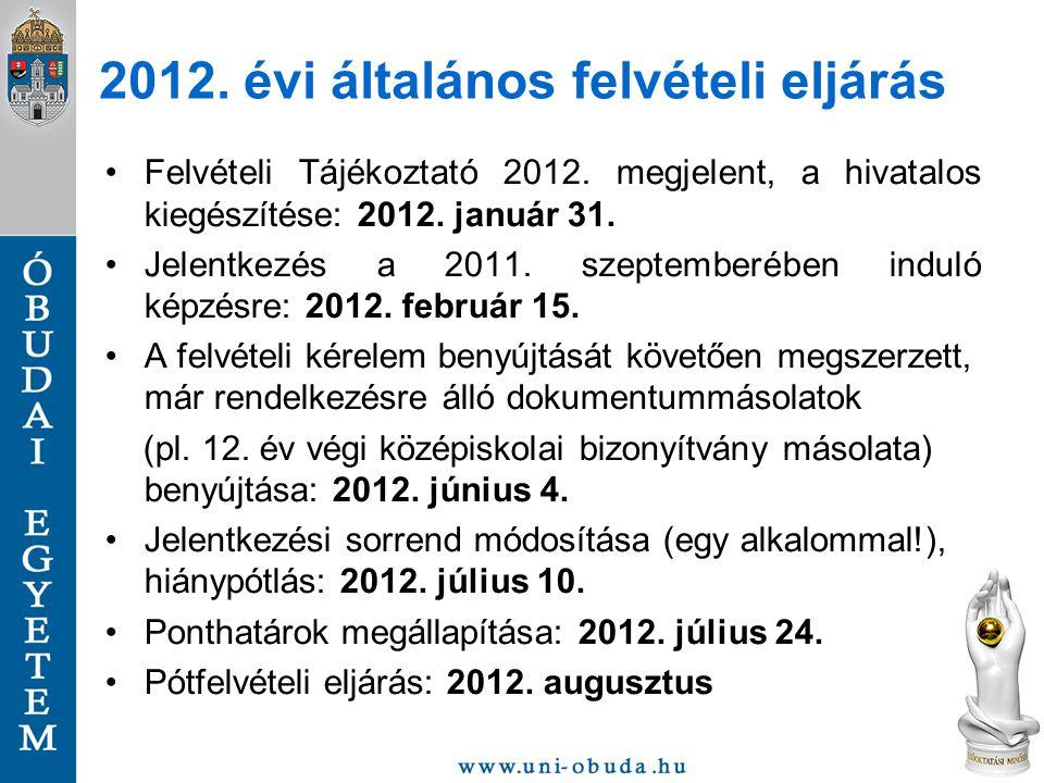 2012. évi általános felvételi eljárás