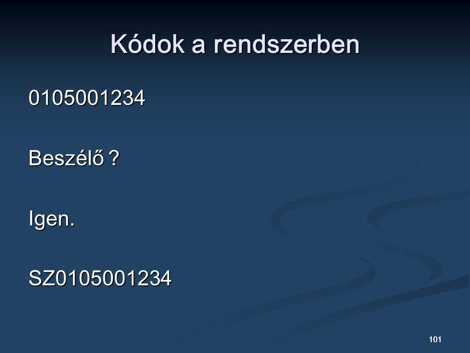 Kódok a rendszerben 0105001234 Beszélő Igen. SZ0105001234 101