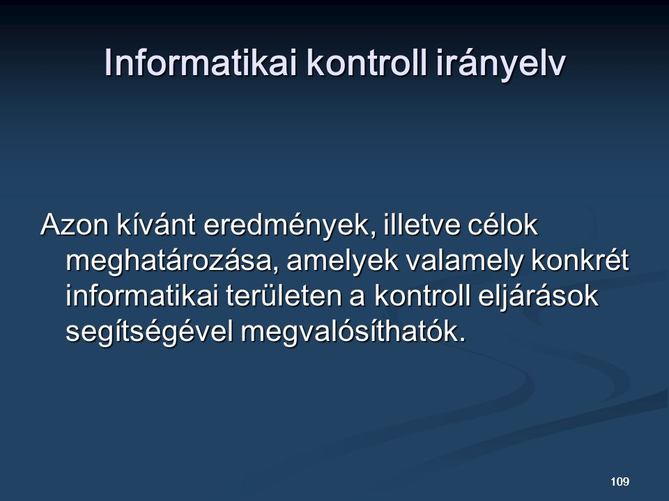 Informatikai kontroll irányelv