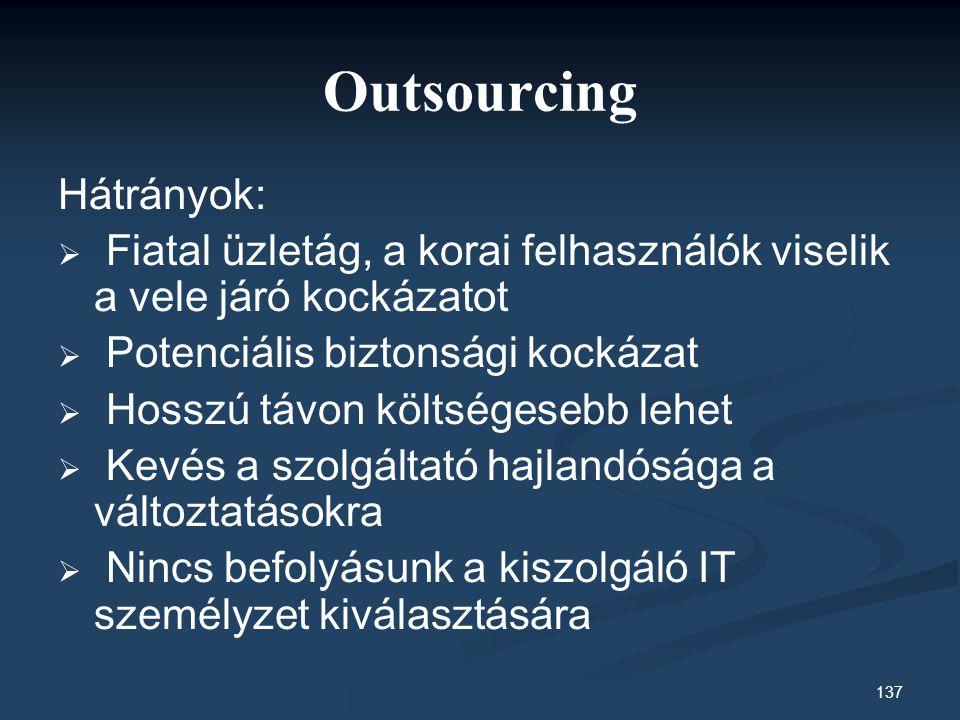 Outsourcing Hátrányok: