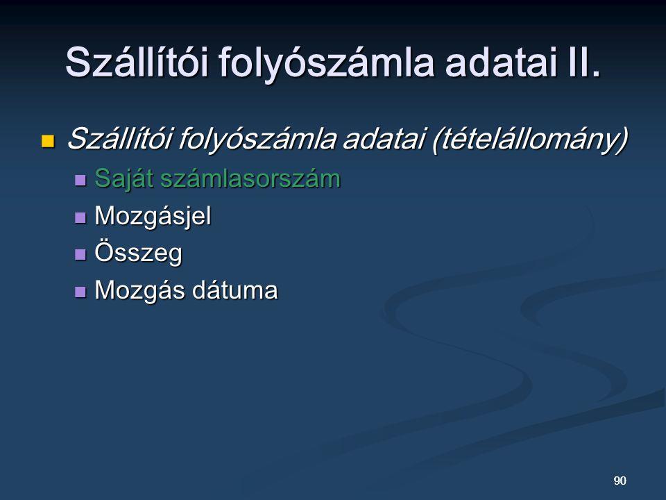 Szállítói folyószámla adatai II.