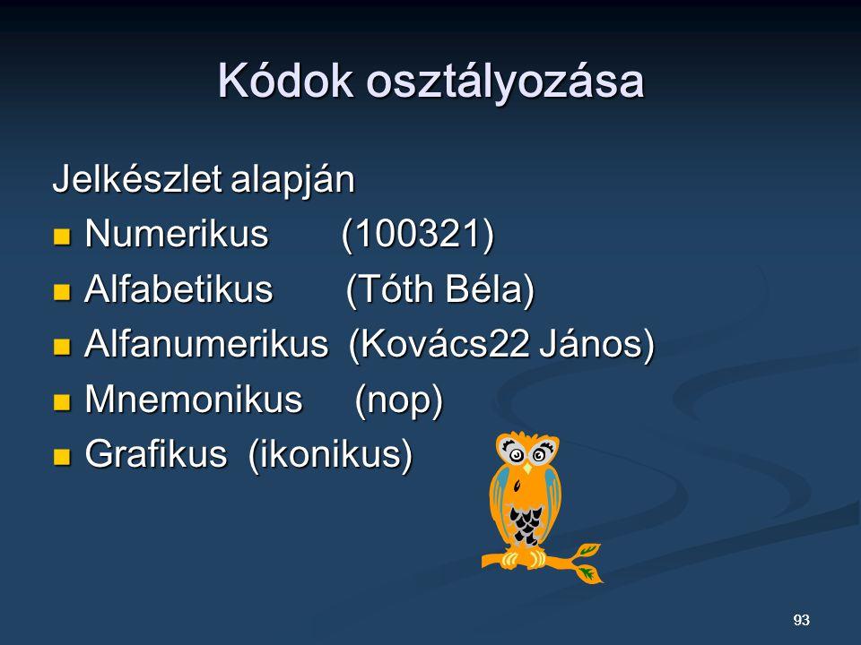 Kódok osztályozása Jelkészlet alapján Numerikus (100321)