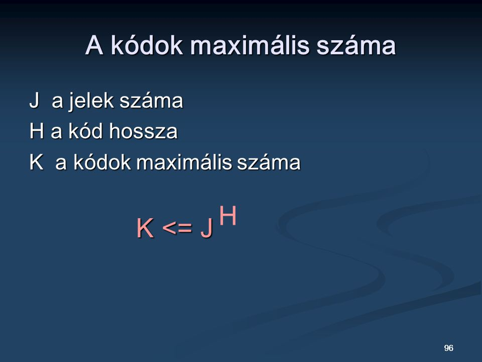 A kódok maximális száma